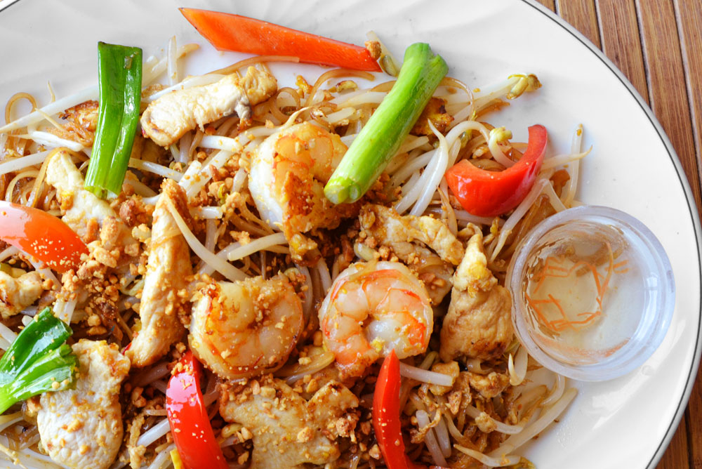 Asian dishes with Shrimp and Chicken